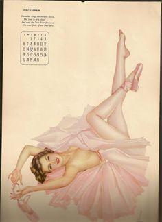 Pin-Up Art by Alberto Vargas - December, 1942 Pinup Art, Pin Up Illustration, Illustrations, Ballerina Tattoo, Rockabilly, Rock And Roll, Vargas Girls, Calendar Girls, December Calendar