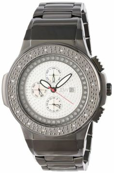 "JBW Men's JB-6101-C ""Saxon"" Black-Ion Pave Diamond Watch"