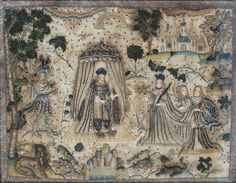 A mid to late 17th century English stumpwork embroidered panel