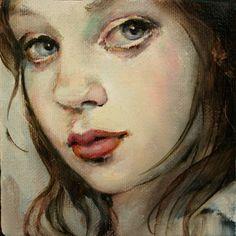 """ORIGINAL Portrait in Oil by Moonglance  4""""x4""""x1.5 """"  OOAK"""