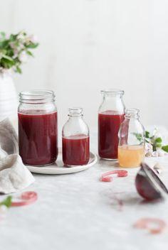 Raspberry Rhubarb & Rose Shrubs - The Kitchen McCabe Toddy Drink, Italian Butter Cookies, Raspberry Rhubarb, Drinking Vinegar, Raw Apple Cider Vinegar, Rose Crafts, Water Kefir, Simple Syrup, Shrubs