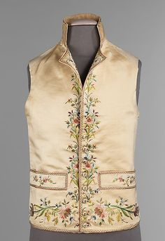 Vest Date: 1800–1815 Culture: French Medium: silk, linen, metal, cotton Dimensions: Length at CB: 24 in. (61 cm) Credit Line: Brooklyn Museum Costume Collection at The Metropolitan Museum of Art, Gift of the Brooklyn Museum, 2009; Gift of Mr. and Mrs. Abraham Adler, 1959