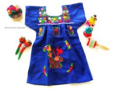 Sabina Royal Blue Mexican Embroidered Fiesta by MexicanartDesigns Mexican Dresses, Mexican Baby Dress, Mexican Babies, Mexican Birthday, Mexican Fashion, Embroidered Clothes, Childrens Party, My Little Girl, Boho Chic