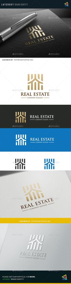 Real Estate Logo Design Template Vector #logotype Download it here: http://graphicriver.net/item/real-estate/12109693?s_rank=38?ref=nexion