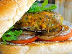 Smoked Vegetable Burger - T-Rex Barbeque Restaurant & Bar - Zmenu, The Most Comprehensive Menu With Photos Tofu Burger, Vegan Burgers, Meatless Burgers, Burger Recipes, Veggie Recipes, Healthy Recipes, Veggie Dinners, Veggie Food, Healthy Food