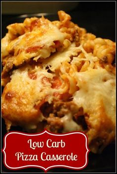 This pizza casserole is a quick dinner option that can be low carb with Dreamfields pasta. It includes pepperoni, ground beef, and lots of mozzarella cheese. #low carb #pasta #beef