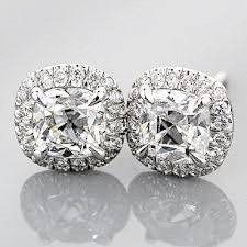 2ct Cushion Cut Halo Russian Lab Diamond Stud Earrings