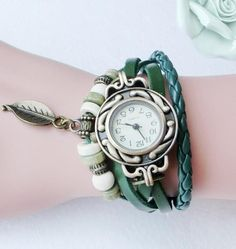 Womens Cool Vintage Leather Bracelet Watch