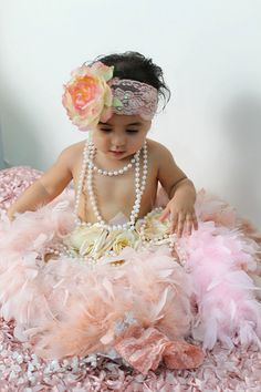 Exquisite Tea Rose Royal Headband,and Feather Tutu/Photography Perfect Prop on Etsy, $75.85 AUD