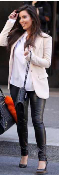 Pants - J Brand Purse - Chanel Shirt - Vince Vince Silk Jersey Half Placket Blouse Forward Vince Henley in White Revolve Vince 1/2 Placket Blouse Ron Herman J BRAND Mid-Rise Stretch Leather Pants In Black shopbop J Brand Leather Skinny Pants Similar style blazers Eryn Brinie Blazer Joseph Silk Inser