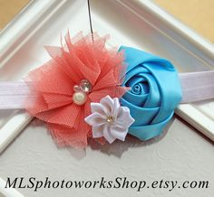 Coral Turquoise and White Baby Girl Headband  by MLSPhotoWorksShop