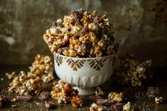 Spiced Apple Cider Caramel Corn with Candied Pecans (2c spiced apple cider,1/2c oil,1/2c corn syrup,1c b.sugar,1tsp cinnamon,1/2tsp nutmeg*leave out,1/2tsp salt,12c popcorn,2c candied pecans) CANDIED PECANS:2tbsp oil,2c pecans,1/2c sugar,1/2tsp salt,1/2tsp cinnamon,1/4tsp cayenne*optional