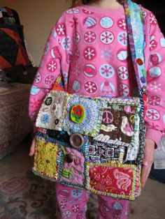 First completed Teesha Moore style patch bag, stolen immediately by my daughter. - PURSES, BAGS, WALLETS