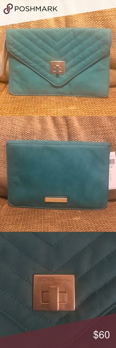 Flawless⭐️✨BCBGeneration teal leather clutch BCBGeneration NWT leather envelope clutch; MINT CONDITION. BUY ME! BCBG Bags Clutches & Wristlets