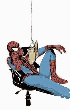 Spidey readin' a book - Spider Man by Will McLaren Pinning because I love Spiderman and I love reading! All Spiderman, Amazing Spiderman, Comic Art, Comic Books, Geeks, Spideypool, Spider Verse, Marvel Dc, Avengers