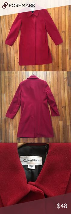Red Wool Coat Red Calvin Klein wool coat.  Concealed button front.  EUC! Calvin Klein Jackets & Coats