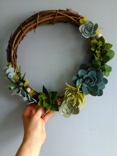 Items similar to Blue and green succulent wreath on Etsy - Wreaths Felt Wreath, Diy Wreath, Grapevine Wreath, Wreath Ideas, Felt Flowers, Fabric Flowers, Paper Flowers, Diy Flowers, Felt Diy