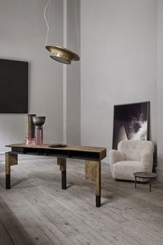 styletaboo: Oliver Gustav Studio - Interior [console table / desk, vases, and lamp, all by Vincenzo de Cotiis for Progetto Domestico, side table by Rick Owens] † Interior Modern, Home Interior, Interior Styling, Interior Architecture, Interior Decorating, Studio Interior, Modern Interiors, Luxury Interior, Vincenzo De Cotiis