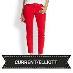 "NWT Current/Elliott red hot cropped skinnies Super HOT!!! Brand new Current/Elliott ""Stiletto"" cropped skinny destroyed jeans. Size 24, equivalent to 00. Approximately 27"" inseam snd 14"" across lying flat. 98% cotton and 2% elastane. No PayPal or trades. Current/Elliott Jeans"