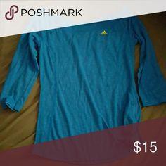 Wide neck adidas top 3/4 sleeve, light weight blue adidas shirt adidas Tops Tees - Long Sleeve