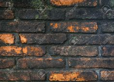 Rusty Brick Wall Cover With Black Moss For Texture Background ...