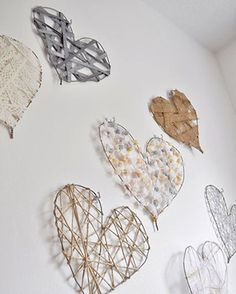 Wire hangers, ribbon, hearts.