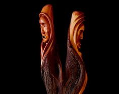 Unique wood carving of a wood spirit tree by TreeWizWoodCarvings