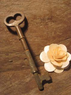 Vintage Brass Skeleton Key ... rare brass AND steel rusty crusty