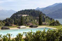 Views from swimming pool at Villa Pescallo, Lake Como