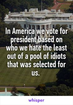 """Someone from Yonkers, New York, US posted a whisper, which reads """"In America we vote for president based on who we hate the least out of a pool of idiots that was selected for us. Whisper Confessions, Whisper App, How I Feel, Thought Provoking, That Way, Laugh Out Loud, Memes, The Funny, True Stories"""
