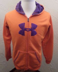 Women's Under Armour Hoodie Size XL  ORANGE/PURPLE Full Zip Sweatshirt GUC #UnderArmour #Hoodie