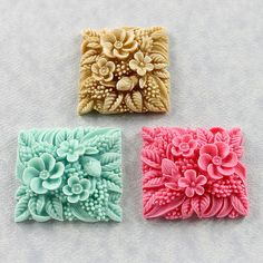 Flower Tile Silicone Mold Mould Polymer Clay Resin by MoldMuse, $7.00
