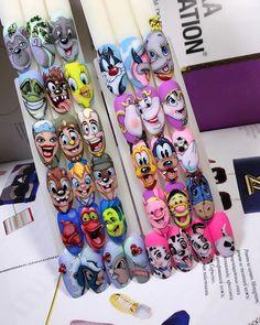 Cute Simple Nails, Simple Acrylic Nails, Cute Nails, Pop Art Nails, Gel Nail Art, Gel Nails, Disney Makeup, Disney Nails, Kawaii Nail Art