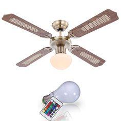 Silent Deckenventilator Mit 4-Blatt L/üfter Und Reversiblem Deckenventilator Mit Dreifarbigem LED Kronleuchter Fernbedienung Energieeffizienzklasse A +++ 92CM 48W