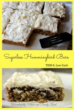These sugarless hummingbird bars are low carb, gluten free and work great in a Trim and Healthy Lifestyle. They satisfy the craving for hummingbird cake for Trim Healthy Mama's like me. Low Carb Sweets, Low Carb Desserts, Healthy Desserts, Diabetic Desserts, Diabetic Recipes, Diabetic Snacks, Ketogenic Recipes, Healthy Munchies, Healthy Breakfasts
