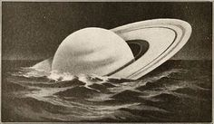 Antique illustration showing how Saturn would float in water if there were a ocean big enough to hold it. Saturn, the sixth planet from the Sun, has beautiful rings omposed of ice particles. It is the second largest planet in the Solar System, yet it. Antique Illustration, Illustration Art, Floating In Water, Our Country, Dieselpunk, Aesthetic Wallpapers, Art Inspo, Artsy, Comic