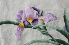 Vintage Iris Crewel Hand Stitched  by VintageSouthernPicks on Etsy