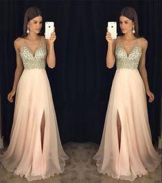 A Line Prom Dresses, Beading Prom dresses, V-neck