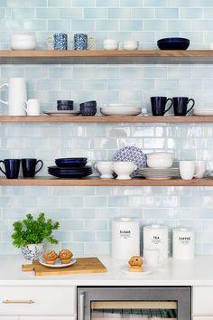 open kitchen shelves + blue subway tile backsplash