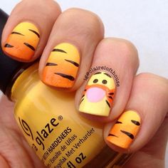 A Cute Tiger Nail Art ❤️ Simple and easy acrylic or gel Disney nails design ideas to wake up your inner princess. ❤️ See more: naildesignsjourna… – nageldesign. Nail Art Disney, Disney Acrylic Nails, Cute Acrylic Nails, Disney Toe Nails, Nail Art Designs, Disney Nail Designs, Nails Design, Cartoon Nail Designs, Tiger Nail Art
