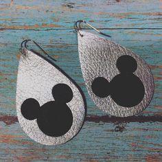 Mouse earrings metallic silver leather mouse earrings silver