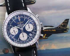 """""""Delivery On Schedule!"""" #Breitling 42mm Navitimer Chronograph, 2011 Ref#: A23322  ($4,325.00 USD) http://www.elementintime.com/Breitling-Navitimer-Chronograph-A23322-Stainless-Steel-Blue-Dial"""