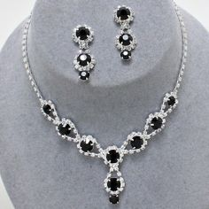 "Stunning Silver/ Clear/ Jet Crystal Rhinestone Wheel Flower Necklace with Matching Earrings~14"" 5 TwentyFour Necklace Sets,http://www.amazon.com/dp/B00JCCD26G/ref=cm_sw_r_pi_dp_rOOrtb0GT27XJZCE"