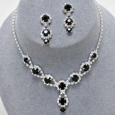 "Stunning Silver/ Clear/ Jet Crystal Rhinestone Wheel Flower Necklace with Matching Earrings~14"" 5 TwentyFour Necklace Sets,http://www.amazon.com/dp/B00JCCD26G/ref=cm_sw_r_pi_dp_XErttb0VHF899FYH"