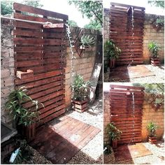 wood pallet rustic look shower in garden
