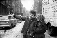 Bob Dylan and Suze Rotolo shooting for the cover of 'The Freewheelin' Bob Dylan'