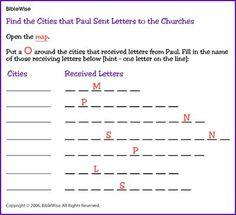 Map find the cities in pauls first journey kids korner image result for apostle paul in athens worksheets fandeluxe Gallery