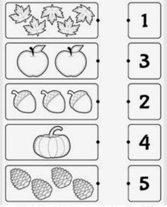 Kindergarten worksheets - Count and match Preschool Writing, Numbers Preschool, Preschool Learning Activities, Free Preschool, Preschool Activity Sheets, Montessori Preschool, Montessori Elementary, Printable Preschool Worksheets, Kindergarten Math Worksheets
