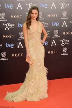 Michelle Jenner in Naeem Khan dress at 2014 Goya Awards