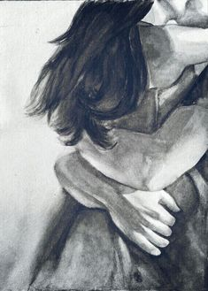 love, hold me forever, Couple Painting, Couple Art, Love Painting, Illustration Art Dessin, Art Sketches, Art Drawings, Romance Art, Art Of Love, Couple Drawings